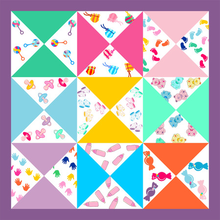 cute baby girls: cute baby background, seamless baby pattern, baby blanket, cute girls and boys pieced quilt fabric,