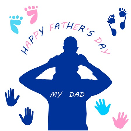 farther: happy fathers day, the father figure of the babys shoulder, fathers day greeting card, baby father figure for t-shirt printing