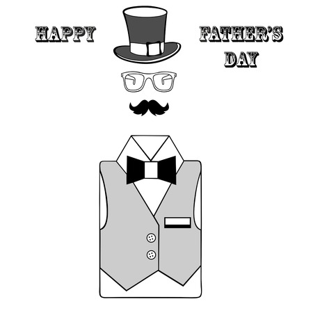 farther: happy fathers day, fathers day greeting card on a white background, cute dad accessories Illustration