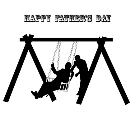 fathers day greeting card, feeling Shaking father on the day of young fathers, linear Fathers Day celebration