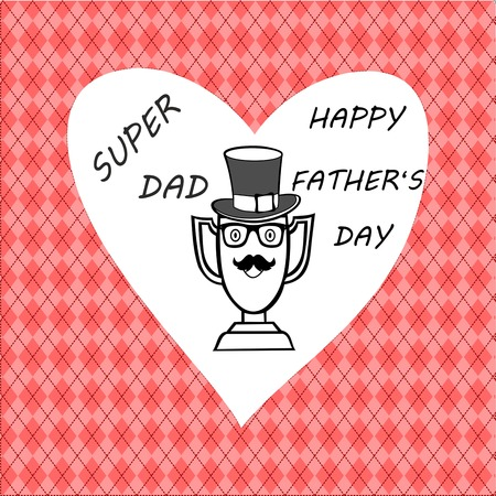 happy fathers day greeting card, Cup has taken on knitwear patterns father figure, trophies taken superdad