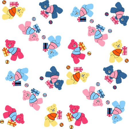 Baby shower design, cute quilts for baby, cute baby bears on a white background, baby shower background, seamless fabric pattern for babies