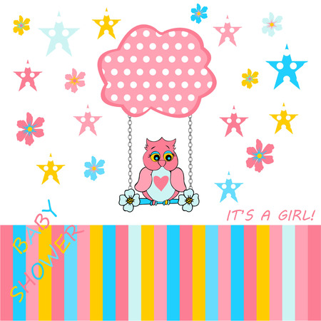 baby announcement card: baby girl card announcement, announcement cards, baby shower card for baby girl on a white background