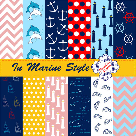 12 background patterns, 12 background patterns ,, marine-style set of digital printing
