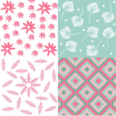 Set of four floral seamless fabric pattern, floral seamless fabric pattern, cute designs for wrapping paper, Illustration
