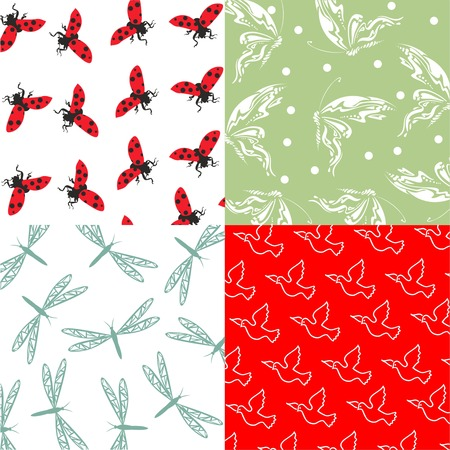 background pattern set of 4, 4 cute animals seamless fabric patterns, cute designs for wrapping paper,