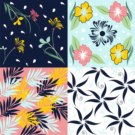 digital design: Set of four floral seamless fabric pattern, floral seamless fabric pattern, cute designs for wrapping paper, Illustration