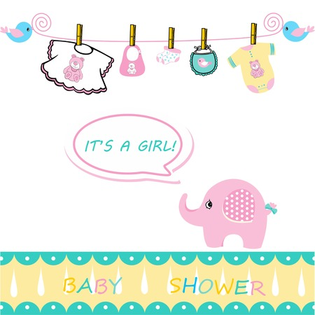 baby girl card announcement, announcement card for baby girl on a white background, baby shower card