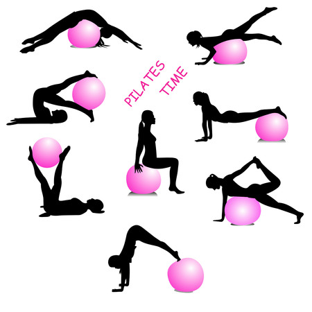 stay in form with Pilates silhouette of woman doing pilates pink ball on a white background