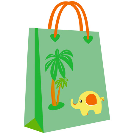 paper shopping bags for your design, cute patterns to shopping bag, cute elephant in front of palm