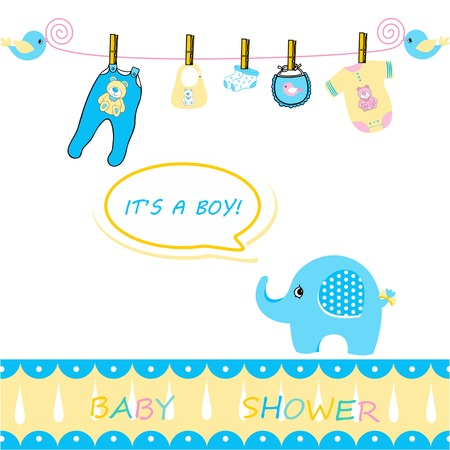 baby boy announcement: baby boy announcement card, baby boy announcement card, announcement card for baby boy on a white background, baby shower card Illustration