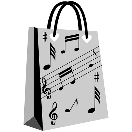 notation: music notation shopping bag, music lovers stylish patterned shopping bag