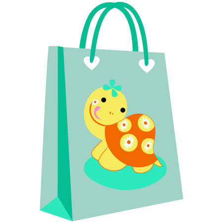 paper shopping bags for your design, cute turtle patterned shopping bag