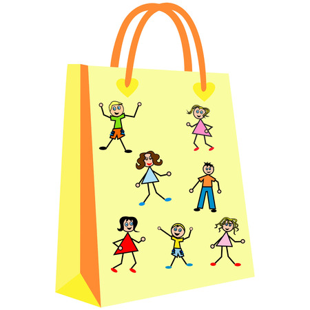 paper shopping bags for your design, Children eat sugar on a yellow background, cute patterns to shopping bag Illustration