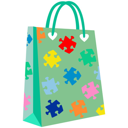 paper shopping bags for your design, jigsaw patterned shopping bag,