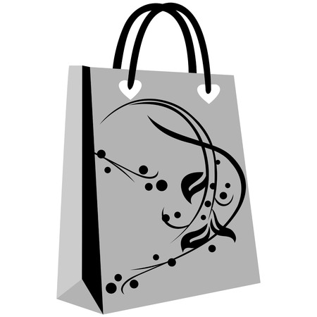 paper shopping bags for your design, cute patterns to shopping bag, shopping bag flowering, elegant floral shopping bag on gray ground Illustration