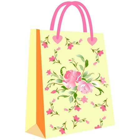 paper shopping bags for your design, cute patterns to shopping bag, shopping bag flowering, elegant floral shopping bag on yellow ground
