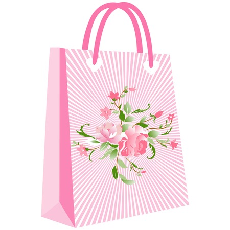 paper shopping bags for your design, cute patterns to shopping bag, shopping bag flowering, elegant floral shopping bag on pink ground