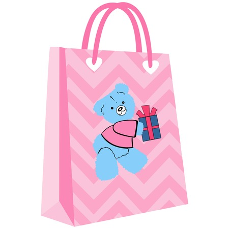 paper shopping bags for your design, cute bear patterned pink shopping bag over undulating ground Illustration