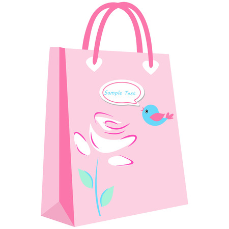 paper shopping bags for your design, elegant floral shopping bag on pink background