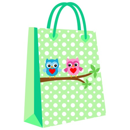 paper shopping bags for your design, cute owl patterned shopping bag on a green background Illustration