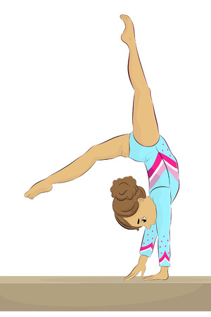 Vector illustration of a young female gymnast performing on balance beam Vektorové ilustrace