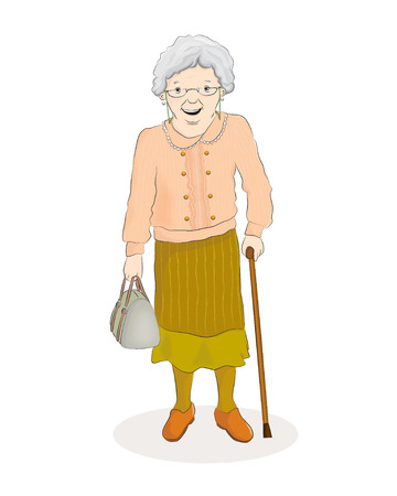 Vector illustration of an old woman standing