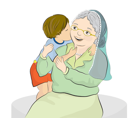 Vector illustration of a grandmother and her little grandson Illustration