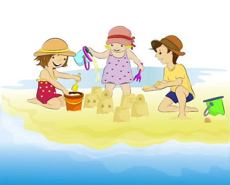 Vector illustration of children playing together and making sand castles on the beach