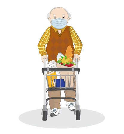 Vector illustration of an old man shopping with his walker, wearing face mask for corona virus protection during Coronavirus COVID-19 Pandemic Outbreak