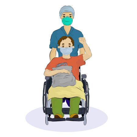 Vector illustration of a covid 19 patient releasing from hospital after recovery feeling strong and happy fighting with coronavirus during COVID-19 Pandemic Outbreak