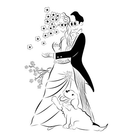Vector cartoon illustration of a wedding couple, bride and a groom hugging each other on their wedding day and posing to the photographer with their lovely golden retriever dog