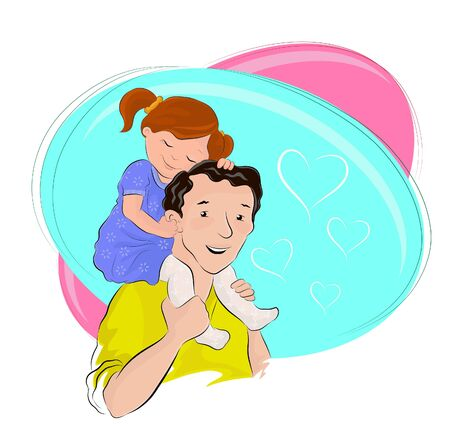 Cartoon colored vector illustration of a very cute little girl sitting on her father's shoulders and showing her deep love to her father. Happy Father's Day
