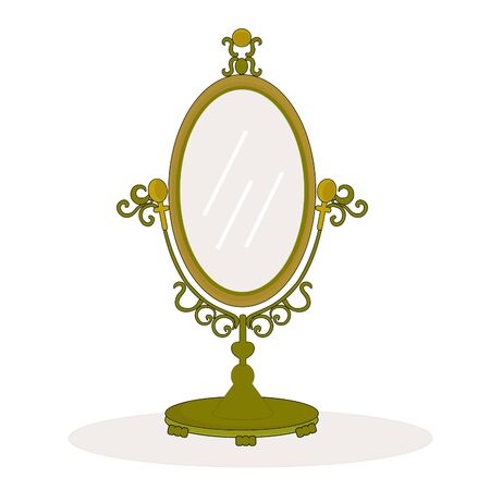 Cartoon colored vector illustration of an oval shaped antique look gold mirror
