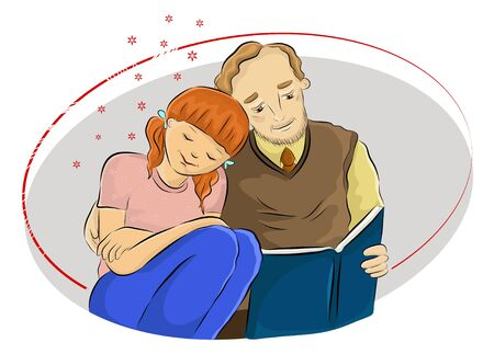 Cartoon colored vector illustration of a teenage girl leaning on her father's shoulder and listening to her father's sweet voice while reading a book with a deep love to her father. Happy Father's Day