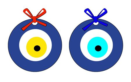 Cartoon colored vector illustration of blue and yellow evil eye bead, Evil Eye Bead Illustration