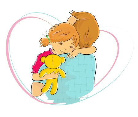 Cartoon colored vector illustration of a baby girl holding her teddy bear and hugging her father with a deep love. Happy Father's Day