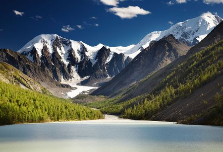 Mountain landscape with lake and blue sky Stock Photo