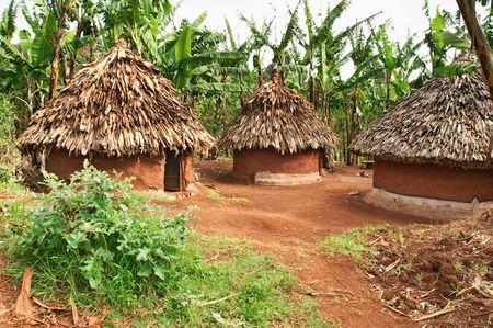 tribu: Chozas tradicionales de �frica  Foto de archivo