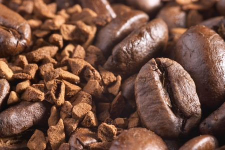 coffeebeans: Coffee-beans and instant coffee background
