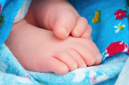 swaddled: Swaddled newborn baby feet