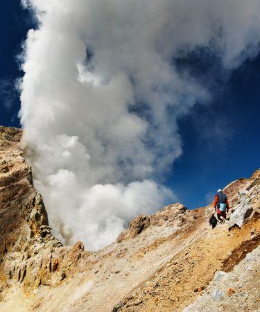 active volcano: Climbing to active volcano