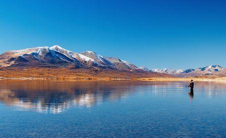 Fishing on mountain lake