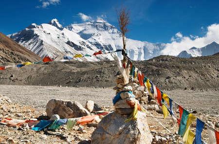 mount everest: Buddhistischen Gebetsfahnen und Mount Everest