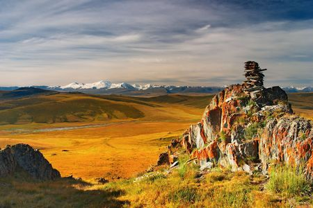 Mountain view, Plateau Ukok, sunrise  photo