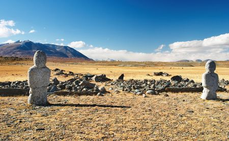 shamanism: Ancient turkic monuments in mongolian desert