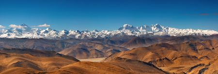 greatness: Panorama with Everest and Cho Oyu mountain