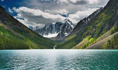 Beautiful turquoise lake in Altai mountains photo