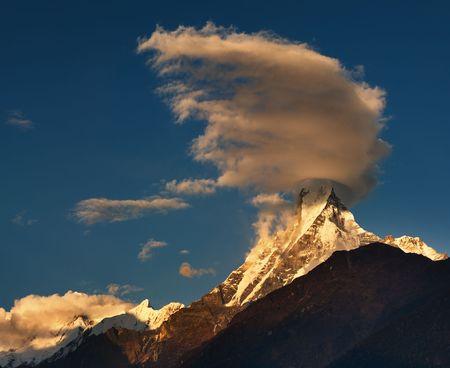 fishtail: Machhapuchhre (Fishtail) mountain in Nepal