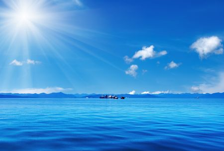 expanse: Blue sky and ocean